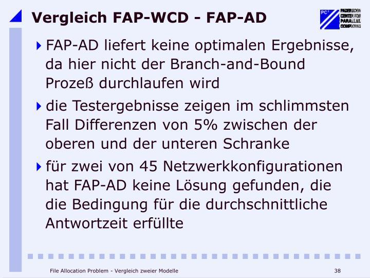 Vergleich FAP-WCD - FAP-AD