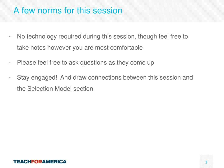 A few norms for this session