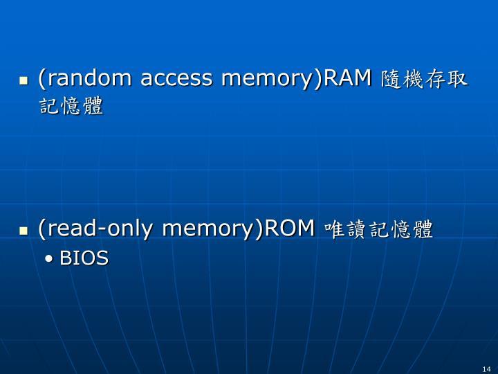 (random access memory)RAM