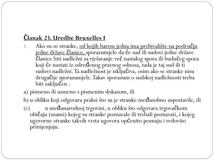 Članak 23. Uredbe Bruxelles I