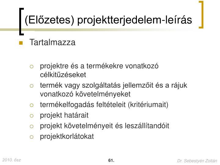 (Előzetes) projektterjedelem-leírás