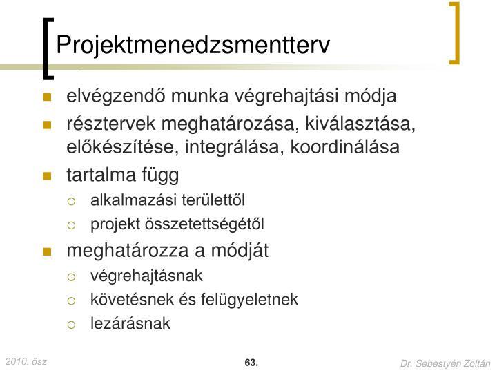 Projektmenedzsmentterv
