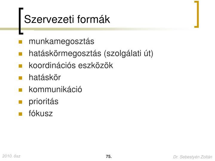 Szervezeti formák