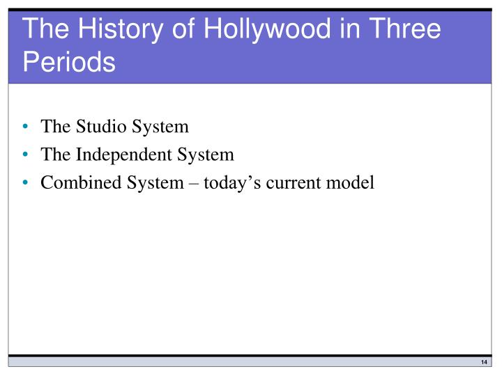 The History of Hollywood in Three Periods