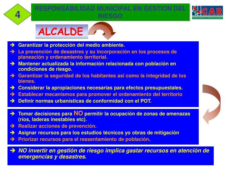 RESPONSABILIDAD MUNICIPAL EN GESTION DEL RIESGO