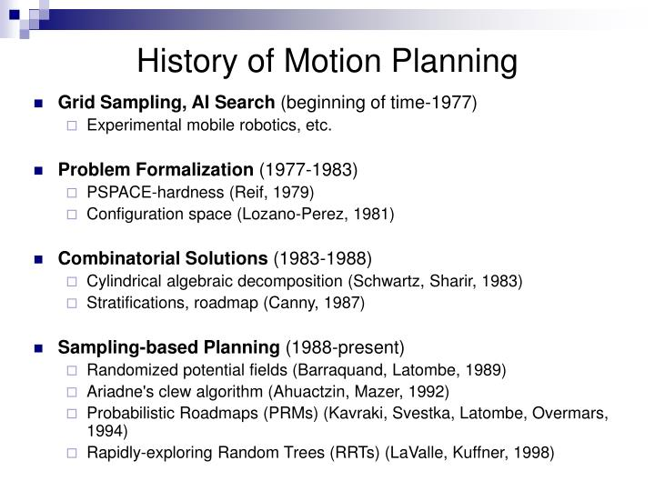 History of Motion Planning