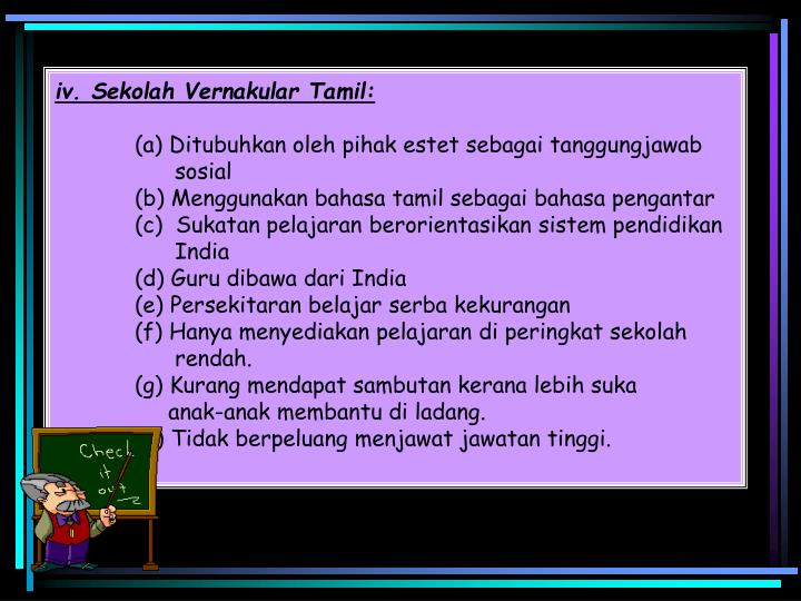 iv. Sekolah Vernakular Tamil: