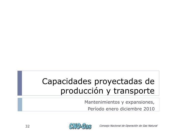 Capacidades proyectadas de producción y transporte