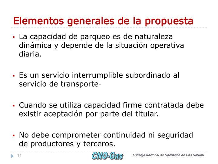 Elementos generales de la propuesta