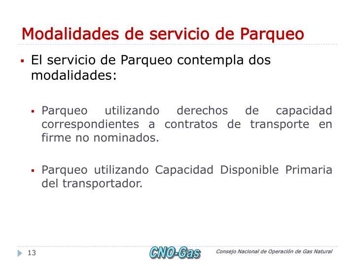 Modalidades de servicio de Parqueo