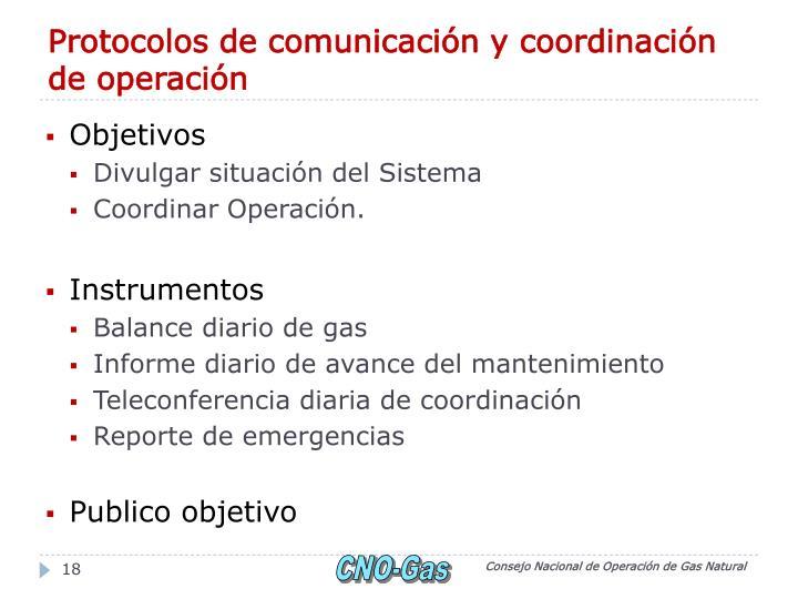 Protocolos de comunicación y coordinación de operación