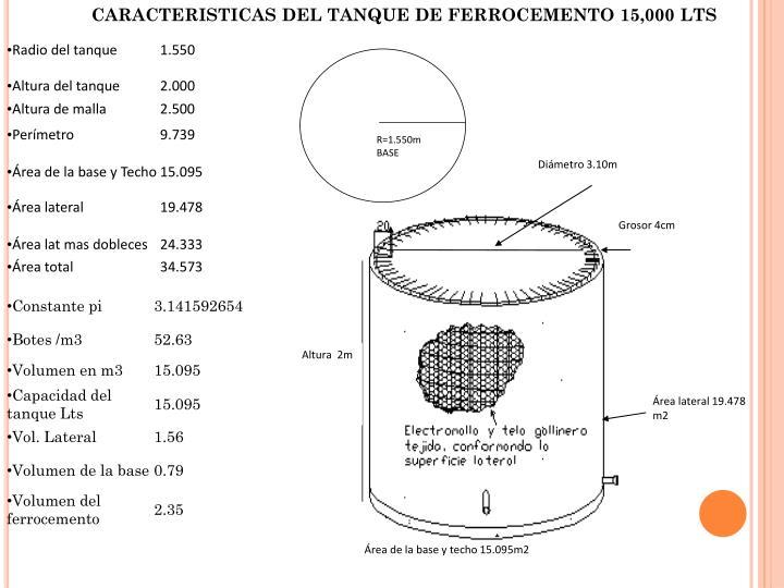 CARACTERISTICAS DEL TANQUE DE FERROCEMENTO 15,000 LTS