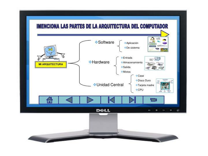IMENCIONA LAS PARTES DE LA ARQUITECTURA DEL COMPUTADOR