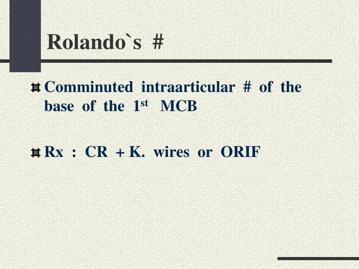 Rolando`s  #