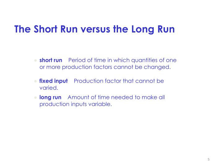 The Short Run versus the Long Run