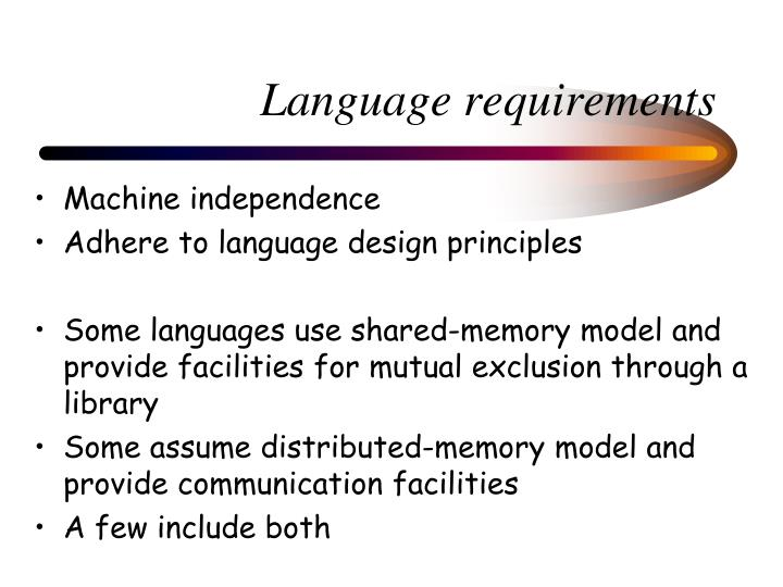 Language requirements