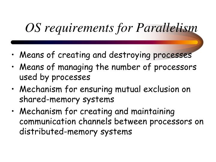 OS requirements for Parallelism