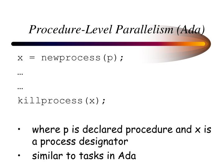 Procedure-Level Parallelism (Ada)