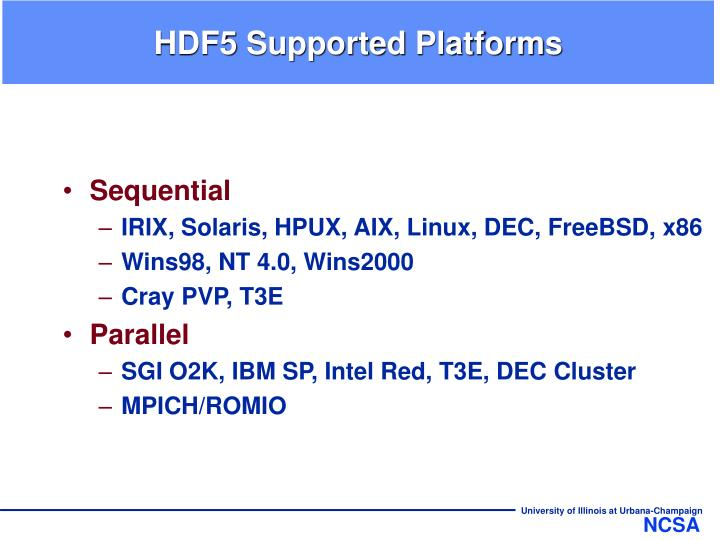 HDF5 Supported Platforms