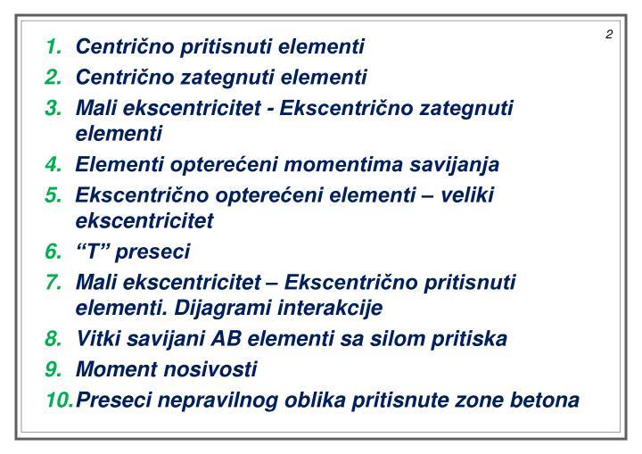 Centrično pritisnuti elementi