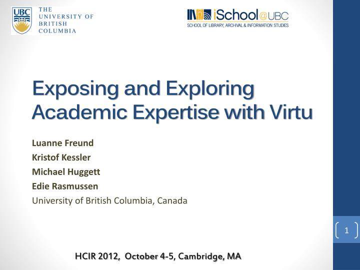 Exposing and exploring academic expertise with virtu