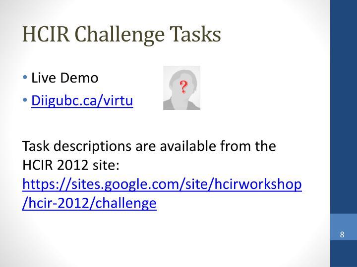 HCIR Challenge Tasks