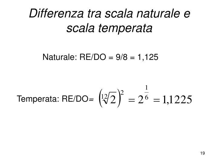 Differenza tra scala naturale e scala temperata