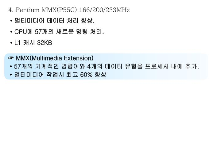 4. Pentium MMX(P55C) 166/200/233MHz