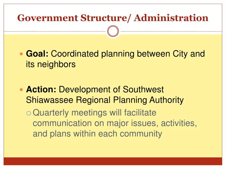 Government Structure/ Administration