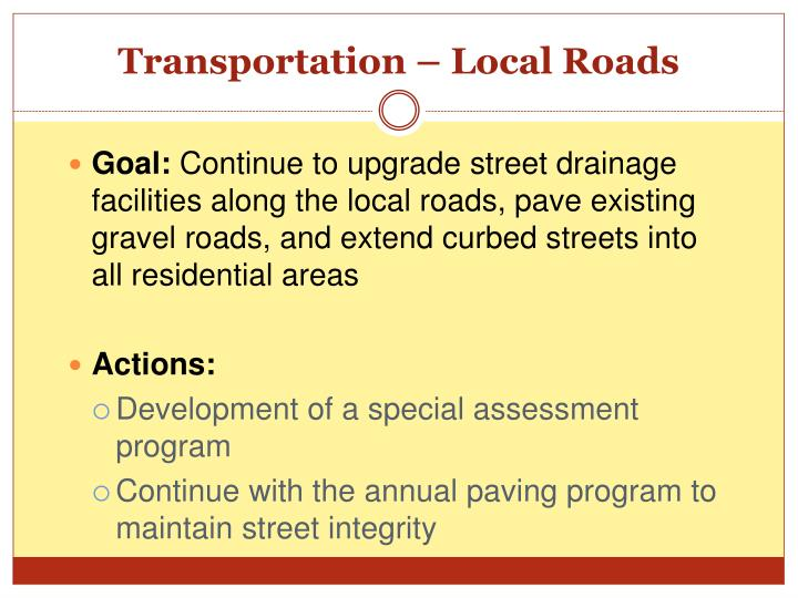 Transportation – Local Roads