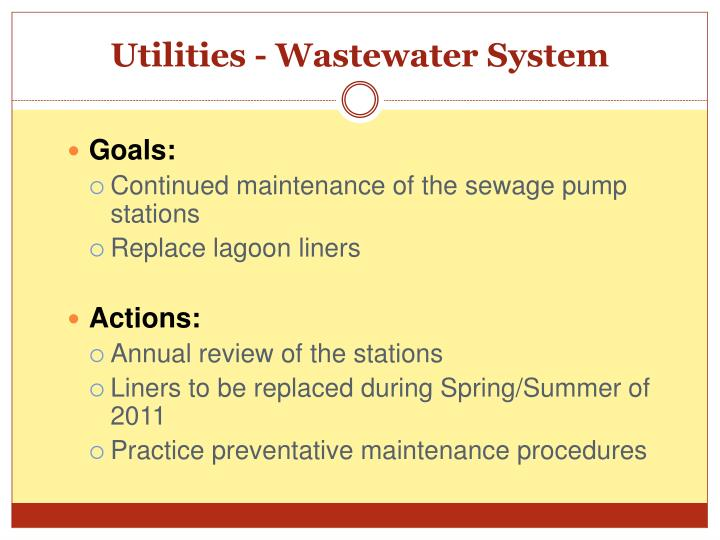 Utilities - Wastewater System