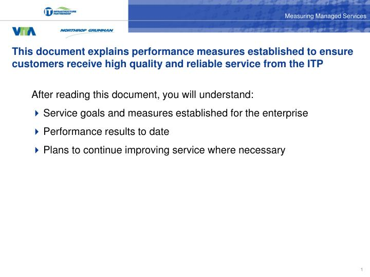 This document explains performance measures established to ensure customers receive high quality and...