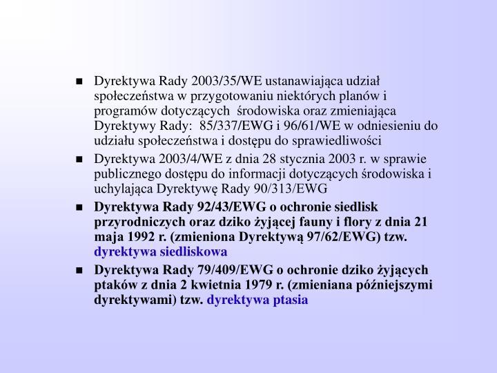 Dyrektywa Rady 2003/35/WE ustanawiaj