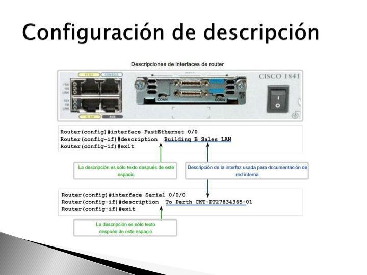 Configuración de descripción
