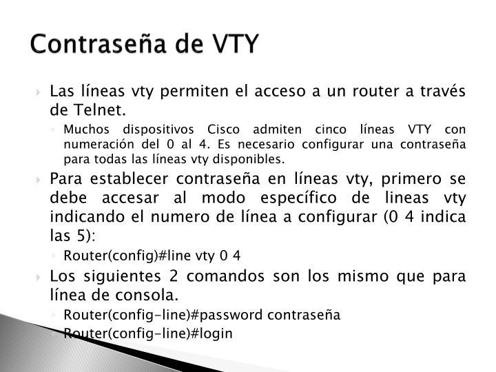 Contraseña de VTY