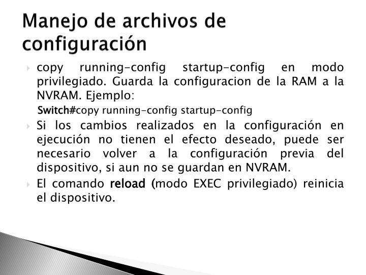 Manejo de archivos de configuración