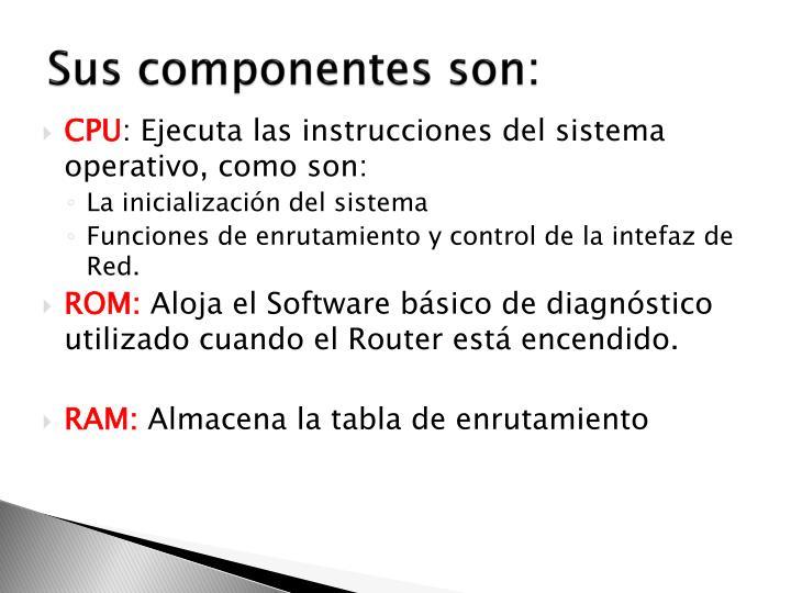 Sus componentes son:
