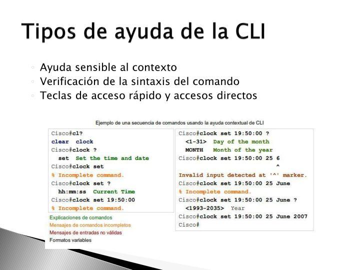 Tipos de ayuda de la CLI