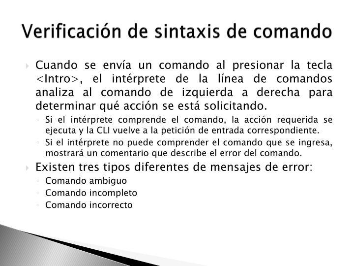 Verificación de sintaxis de comando