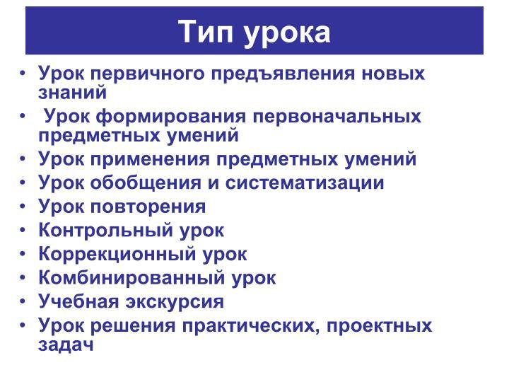 Тип урока