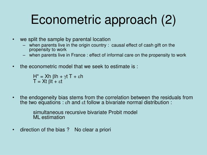Econometric approach (2)