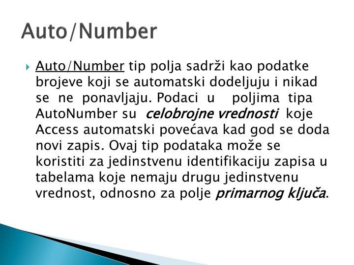 Auto/Number
