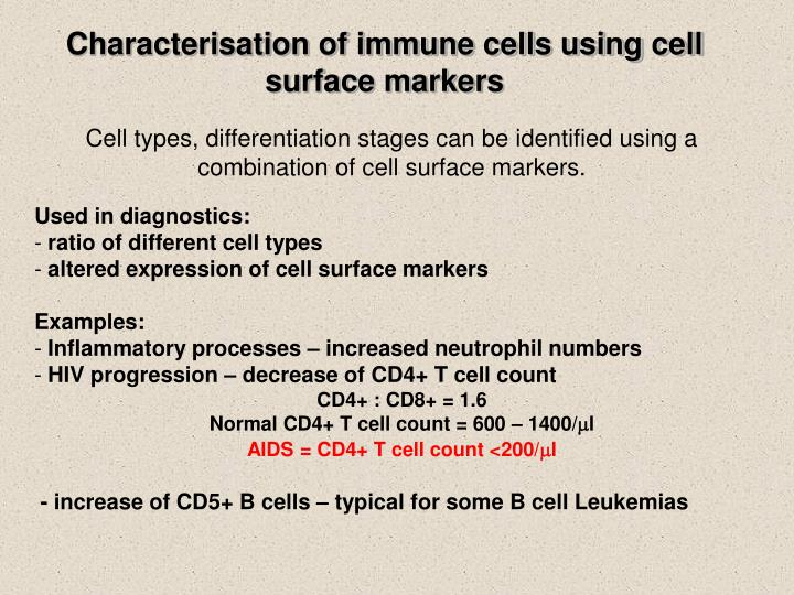 Characterisation of immune cells using cell surface markers