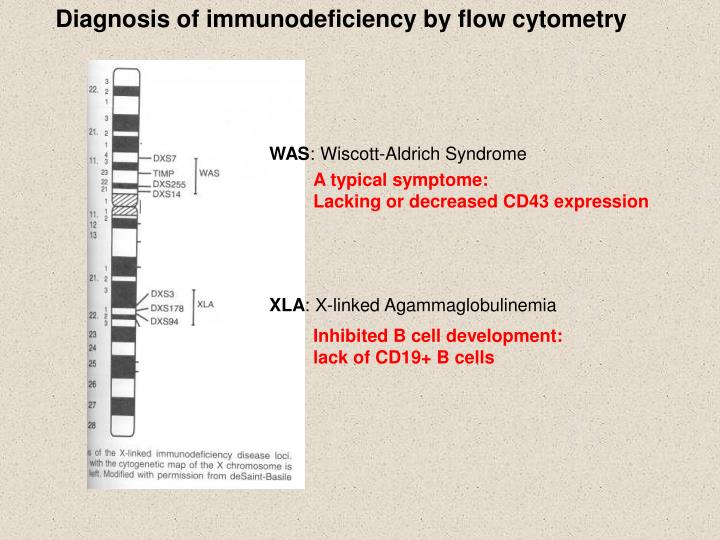 Diagnosis of immunodeficiency by flow cytometry