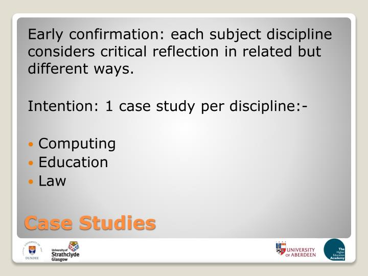 Early confirmation: each subject discipline considers critical reflection in related but different ways.