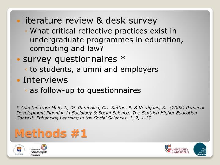 literature review & desk survey