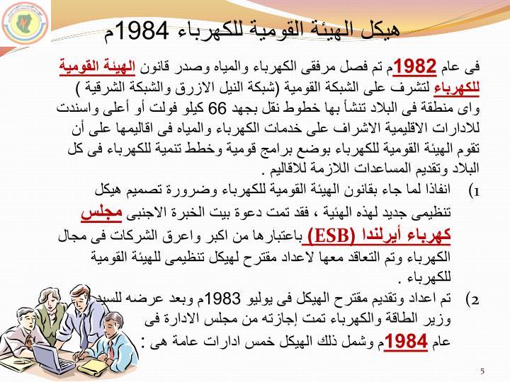 هيكل الهيئة القومية للكهرباء 1984م