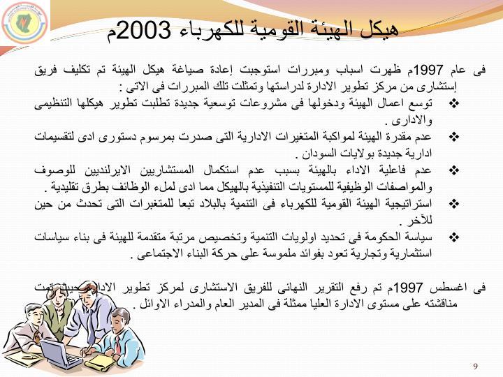 هيكل الهيئة القومية للكهرباء 2003م