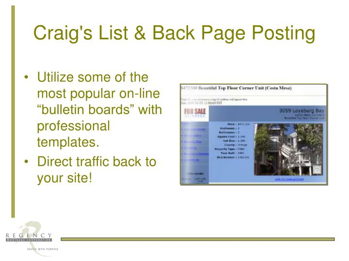 Craig's List & Back Page Posting