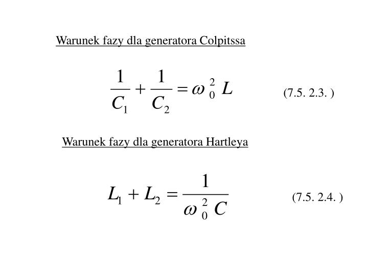 Warunek fazy dla generatora Colpitssa